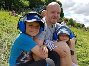 York chiropractor Phil with his son and daughter at Oliver's mount Scarborough